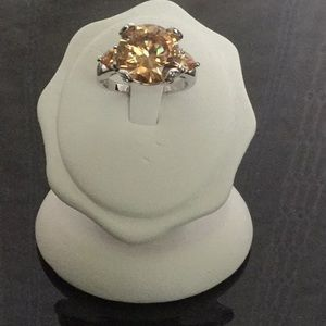 .925SterlingSilverCushionCutMorganite RingSize7.5